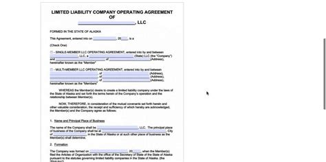 Alaska Llc Operating Agreement Template Pdf Word Youtube Operating Agreement Template Pdf