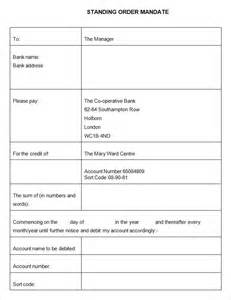 Bank Change Order Form Template by Standing Order Template 9 Free Word Pdf Documents