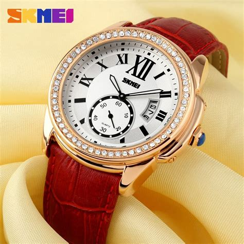 Murah Jam Tangan Wanita Skmei Casual Leather 1147cl 30m skmei jam tangan analog wanita 1147cl coffee gold