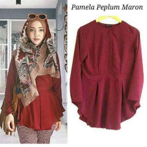 Pakaian Wanita Baju Setelan Wanita Setelan Peplum Ribbon Mirabella M baju muslim modern peplum grosir baju muslim pakaian wanita dan busana murah