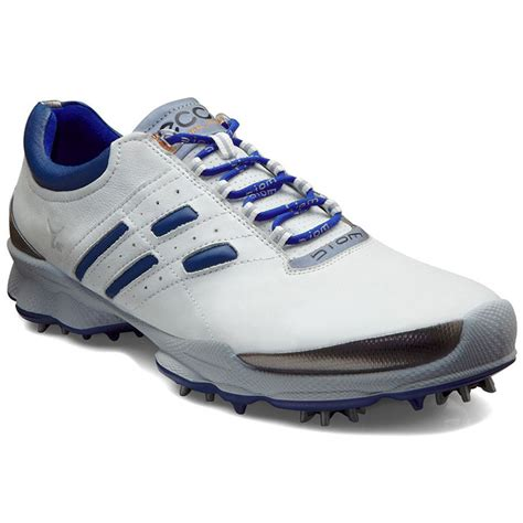 ecco biom lace golf shoes mens white blue at