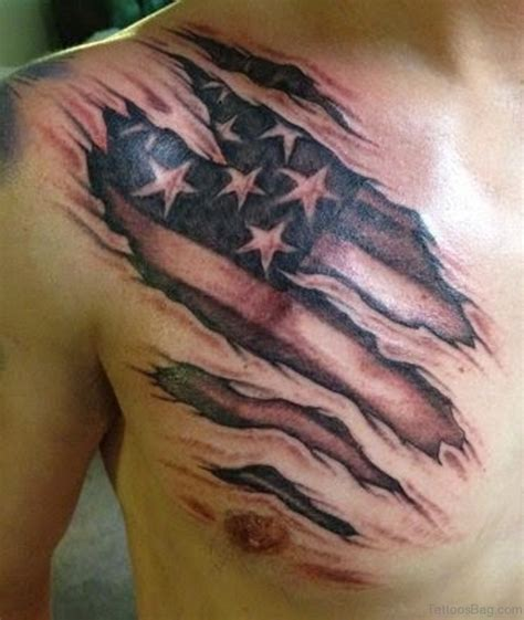 rip chest tattoos 57 classic flag tattoos on chest