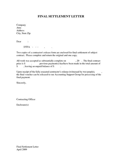Final Payment Letter Template   Letter Template 2017