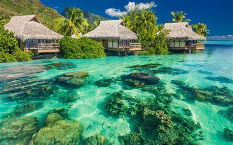 okean voda kamni bungalo palmy nebo hd oboi dlya noutbuka