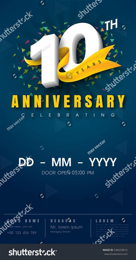 10 Years Anniversary Invitation Card Celebration Stock Vector 546633814 Shutterstock 10 Year Anniversary Invitation Templates