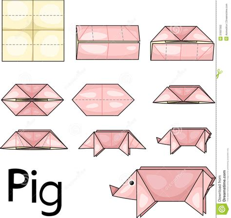 Easy Origami Pig - origami pig stock photos image 31697563