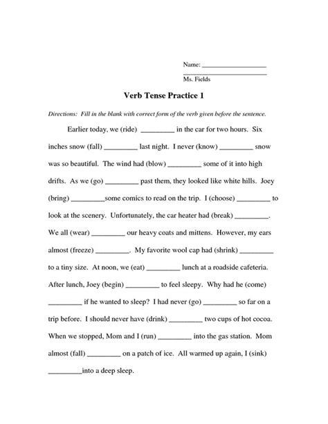 Verb Tense Worksheets by Verb Tense Worksheet Tenses
