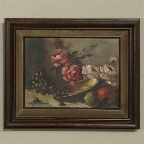 antique french floral  life framed oil painting  canvas
