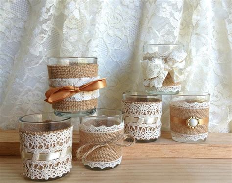 lace home decor vintage style burlap and lace covered tea candles wedding d 233 cor bridal shower decor weddings