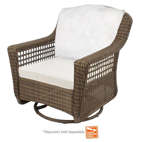 hton bay spring haven grey wicker patio swivel rocker