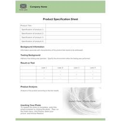 Product Specification Template by Product Specification Sheet Template