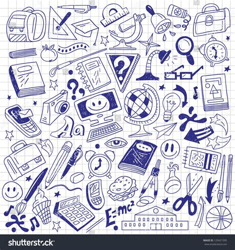 doodle school free school education doodles stock vector 129421595