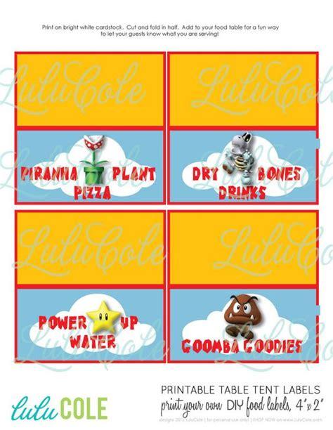 printable nes labels super mario diy printable table tent food labels mario