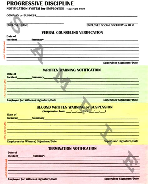 progressive discipline template business forms progressive discipline form system