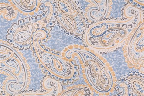 paisley drapery fabric 11 yards paisley printed cotton drapery fabric in blue