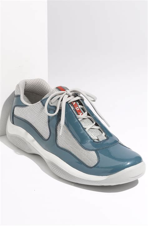 prada americas cup sneaker prada americas cup mesh leather sneaker in blue for