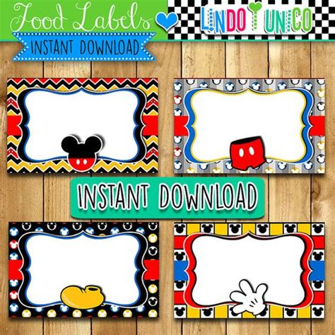 buffet food tags mickey mouse labels or food buffet tags lindoyunico