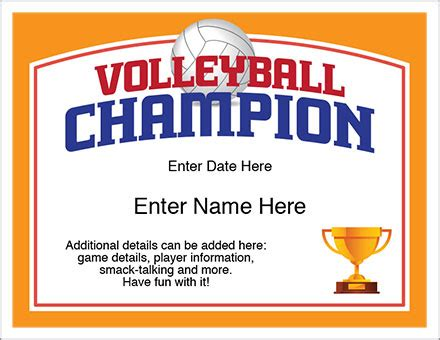 printable volleyball awards volleyball chion certificate free award certificates