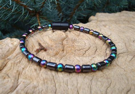 single bead bracelet iridescent rainbow barrel bead single strand bracelet 4mm