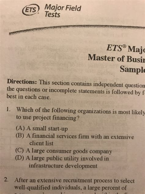 Major Field Test Mba Answers by Solved E Major Field Tests Ets Majo Master Of Busi Sl