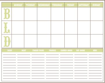 menu planning template with grocery list free printable meal planner grocery list jenallyson