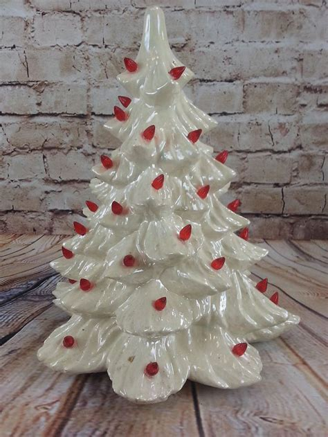 vintage decorative handmade ceramic christmas tree white