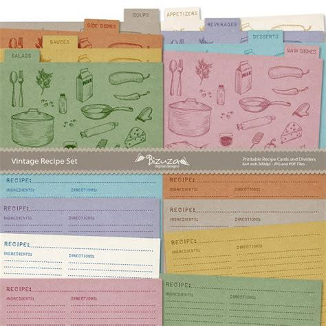 printable 4x6 recipe card dividers printable recipe cards and recipe box dividers 4x6