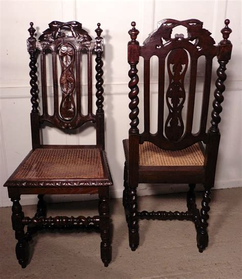 set   victorian gothic style oak dining chairs