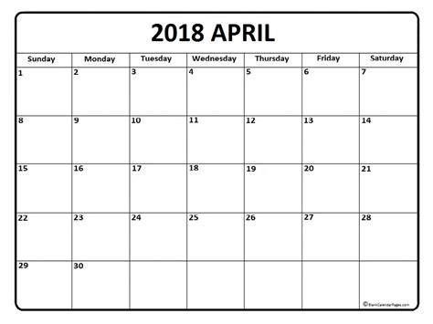 april 2018 calendar printable with templates and pdf format