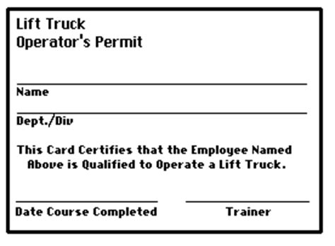Course Manager S Guide To Lift Truck Demonstrations Practice Exercises And Testing Forklift Card Template