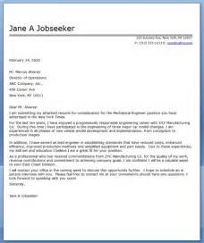 Lead Mechanical Engineer Cover Letter by Cover Letter Mechanical Engineer Sle Resume Downloads