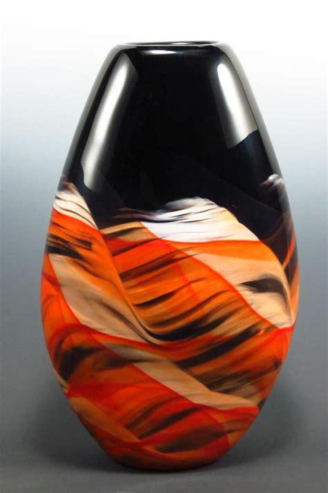 Glass Teardrop Vase Red Amp Black Teardrop Vase By Mark Rosenbaum Art Glass