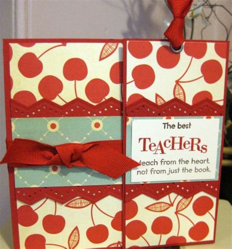 Most Popular Gift Cards For Teachers - a cherry on top teacher appreciation handmade gift card with bookmark