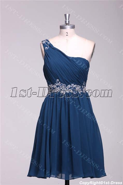 Navy Blue One Shoulder Cute Cocktail Dress for Juniors:1st dress.com
