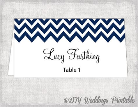 48 Place Card Template by Place Card Template Chevron Navy Name Cards Diy