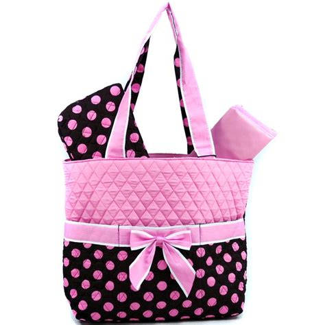 Soft Pink Eight Dotted Fashion Bag quilted polka dot 3pc bag w ribbon accents brown pink fashion gifts for you n me