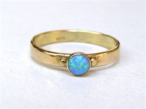 Handmade Gold Engagement Rings - handmade engagement ring blue opal ring 14k gold ring