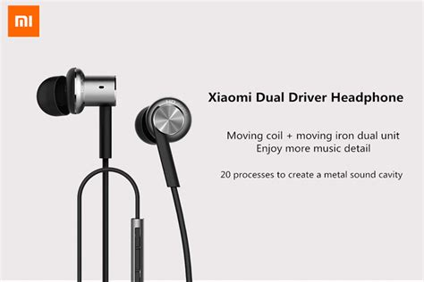 Xiaomi Earphone Hybrid original xiaomi hybrid dual drivers wired earphone headphone with mic sale banggood