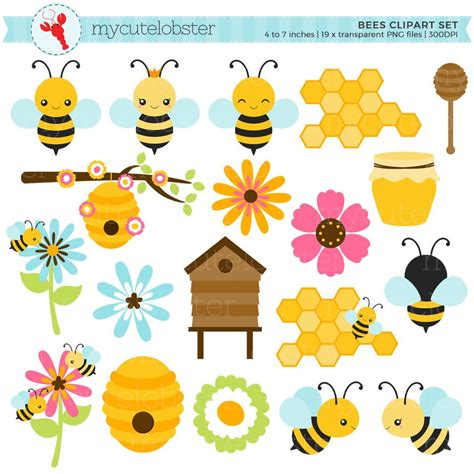 Bees Set by Bees Clipart Set Clip Set Of Bees Honey Beehive