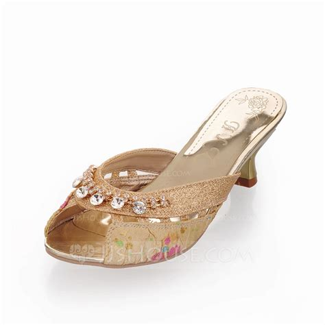 s sparkling glitter low heel sandals slippers with