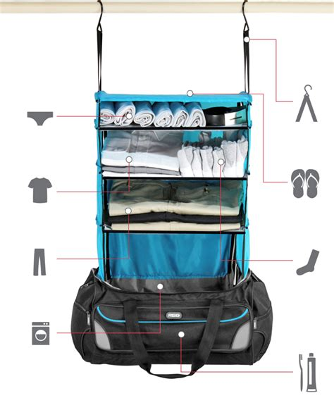 this travel bag has a shelving system that organizes your