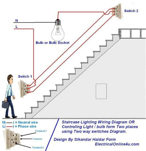 staircase wiring circuit diagram using two way switch