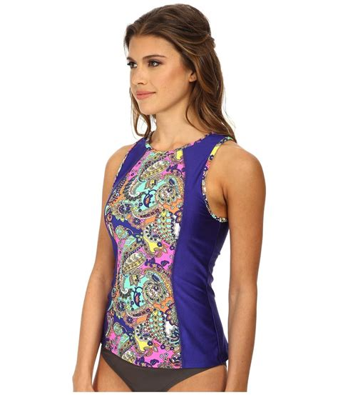 shoshanna sleeveless combo rash guard w shelf on tradesy