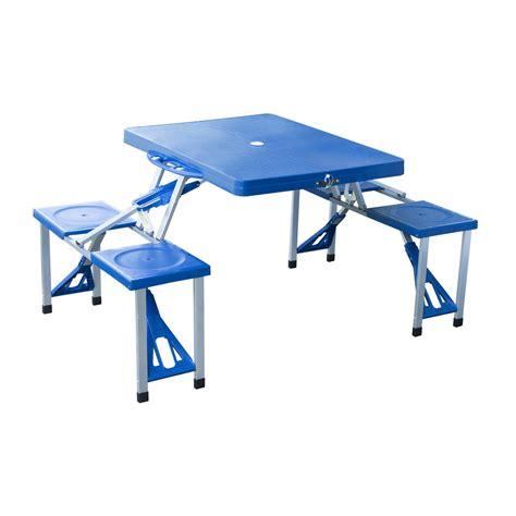 portable picnic table with benches outsunny portable picnic table w bench set blue aosom co uk