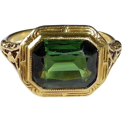 antique 18k green tourmaline ring by larter co from