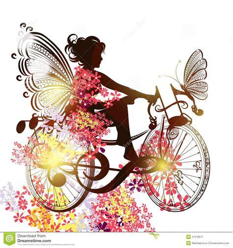 florezca a la hada en un s 237 mbolo de la bicicleta de la