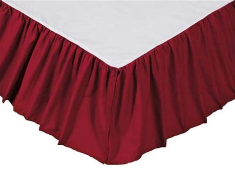 red bed skirt solid red gathered bedskirt