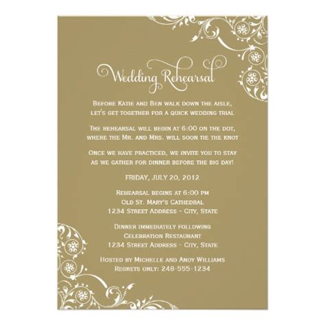 wedding rehearsal dinner invitations wedding rehearsal and dinner invitations gold 5 quot x 7