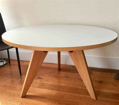 Vitra Dining Table Vitra Dining Table Gueridon Designed By Jean Prouve Wood And White Top At 1stdibs