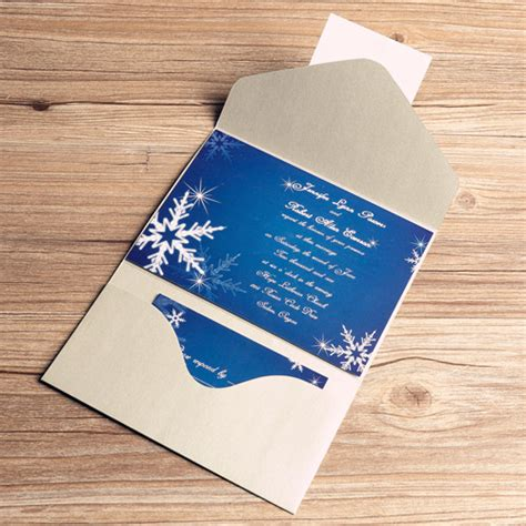 printable pocket wedding invitation kits printable winter snowflake blue pocket wedding invitation